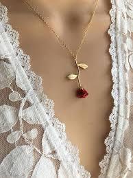 gold red rose necklace images Original red rose necklace gold rose beauty and the beast jpg