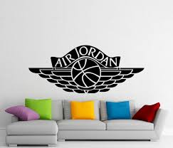 jordan wall decal etsy air jordan wall sticker sports basketball logo vinyl decal home interior design kids room mural