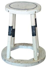 distressed wood stool beach style accent and garden stools