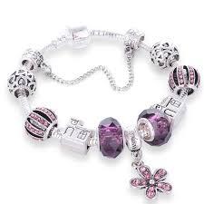 diy glass bead bracelet images Purple crystal flowers charm bracelet bangle with house and jpg