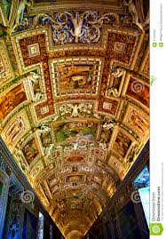 Vatican City Map Vatican Museum Map Room Inside Ceiling Rome Italy Editorial