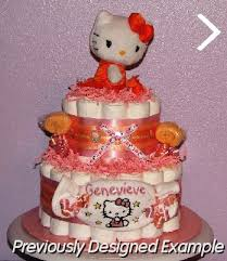 baby diaper cakes kitty diaper embroidery