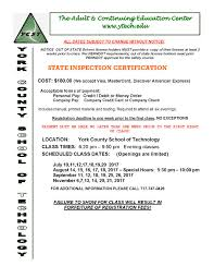 state inspection certification york county of tech