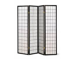 4 panel elegant room divider screen ivory fabric metal frame
