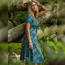 buy turquoise dress nomads floral print knee length fair trade