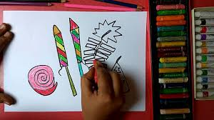 how to draw colorful crackers for diwali step by step easily