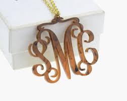 monogram necklace acrylic acrylic necklace etsy