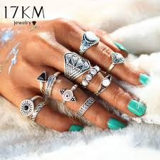 midi ring set vintage opal knuckle rings for women fashion leaf