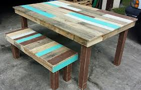 Wooden Outdoor Table Diy by Pallet Dining Table And Bench Set Pallet Furniture Diy Home