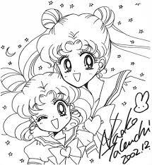 sketch of usagi tsukino sailor moon u0026 chibiusa tsukino sailor