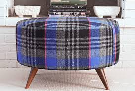 Upholster Ottoman Upholster An Ottoman With A Vintage Plaid Skirt 6 Steps With
