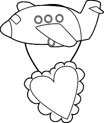 valentines airplane coloring wecoloringpage