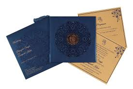 sikh wedding cards wedding card in navy blue and golden