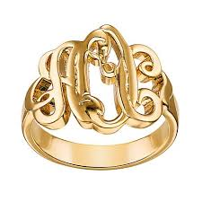 monogram ring gold fancy script monogram ring 7802783 hsn