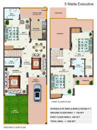 Ground And First Floor Plans by 5 Marla House With Ground Floor And First Floor Plan Pk Architect 4u