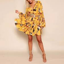 aliexpress com buy yellow boho dress 2017 vintage floral print