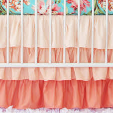 Crib Bed Skirt Measurements Coral Gradient Ruffle Crib Skirt Coral Crib Skirt Caden