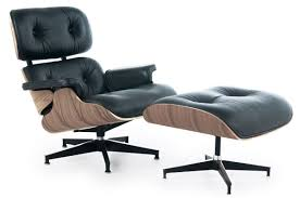 Big Chair And Ottoman by Eames Style Lounge Chair And Ottoman Black Leather Walnut Wood