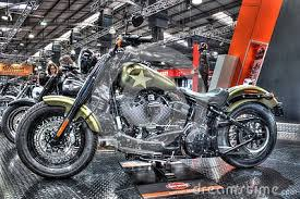 custom painted u s army harley davidson softail slim on display