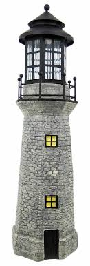 solar lighthouse garden figurine light gray color
