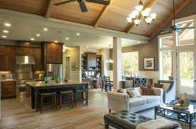 Open Kitchen Family Room Floor Plans Great Room Living Room With Open Beam Wood Ceiling House Plan No