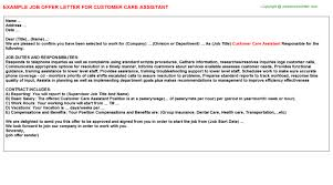 cover letter examples for care assistant customer care assistant offer letter