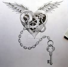 black and grey mechanical heart with wings tattoo design by neil