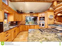 log cabin kitchen interior design with honey color cabinets stock log cabin kitchen interior design with large storage combination royalty free stock photography