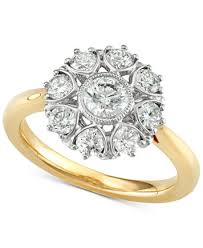 floral engagement rings marchesa diamond floral engagement ring 1 1 3 ct t w in 18k