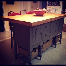 custom kitchen island handcrafted from an antique buffet by my
