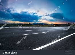 asphalt road high way empty curved stock photo 232342594