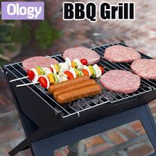 qoo10 foldable mini bbq grill include charcoal plate portable