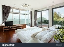 panoramic view nice cozy bedroom summer stock photo 90571249