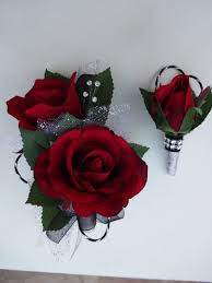 Red Rose Corsage 2 Piece Wrist Corsage And Boutonniere In By Alwayselegantbridal