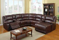 Home Theater Sectional Sofas 4 Pc Brown Bonded Leather Sectional Sofa With Recliners And Chaise
