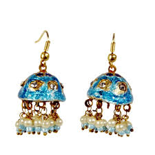 fancy jhumka earrings buy rajasthani turquoise lacquer jhumka ear ring 101 online