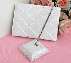 guest book and pen set ivory wedding guest book pen set with diamonds x and l trading