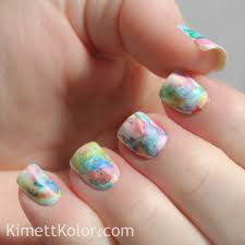 abstract watercolor painting on my nails kimett kolor