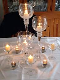 glass centerpieces with floating candles winter centerpiece at
