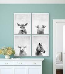 Farm Animal Nursery Decor Farm Animal Prints Mcdonald Animal Nursery Set Of Four
