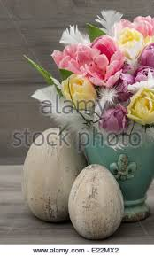 Vintage Easter Egg Decorations by Tulip Flowers With Vintage Easter Eggs Decoration Retro Style