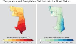 The Interior Plains Climate Temperature And Precipitation Distribution In The Great Plains