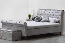 Black Fabric Chesterfield Sofa by St James Diamante Silver Crushed Velvet Chesterfield Sleigh Bed