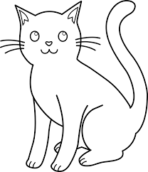 coloring pages black and white cat lineart free clip art free
