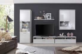 Wohnzimmer Ohne Wohnwand Wohnwand Trento 2 In Weiß Hochglanz Mit Edelstahl
