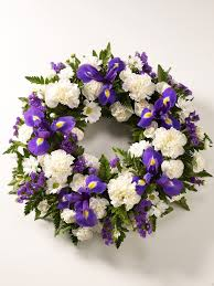 flowers for funeral white and purple wreath
