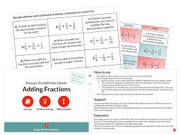 adding fractions always sometimes never by