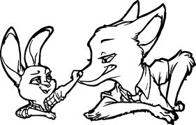 nick wilde judy hopps bunny fox nose coloring page wecoloringpage