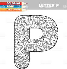 coloring book capital letters hand drawn template stock