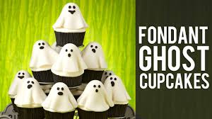 Halloween Decorations Cakes How To Make Fondant Ghost Cupcakes Halloween Cupcakes Youtube